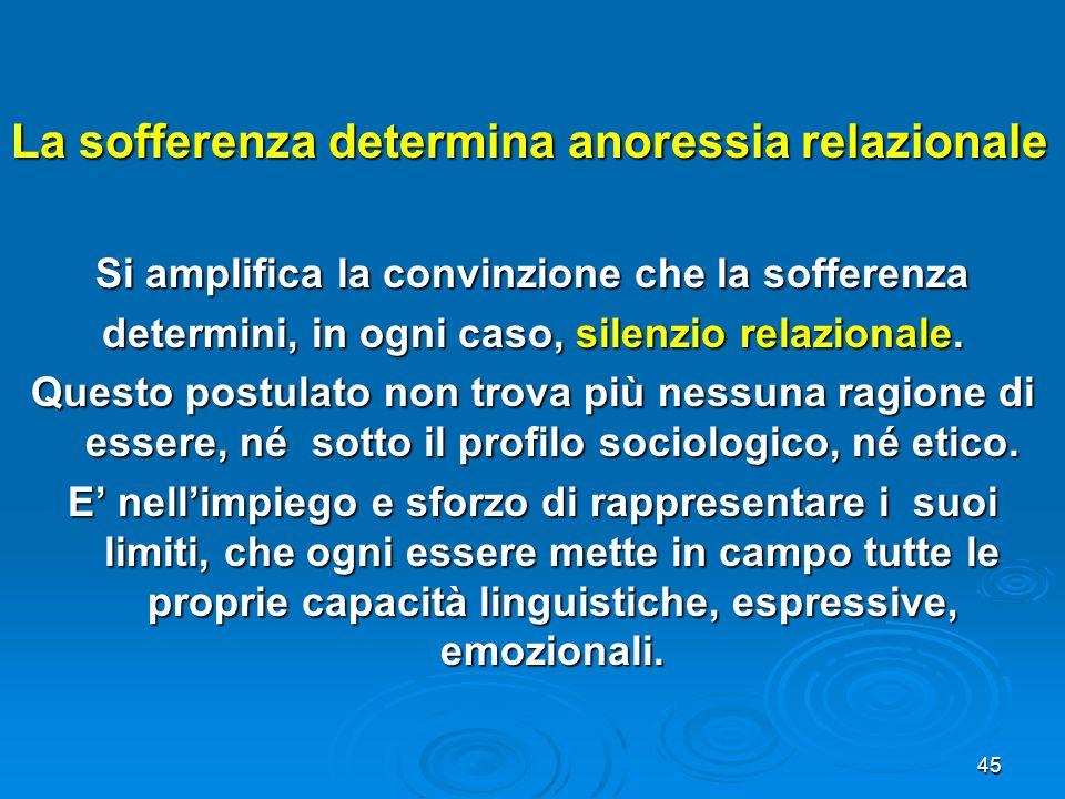 45 La sofferenza determina anoressia relazionale Si amplifica la convinzione che la sofferenza determini, in ogni caso, silenzio relazionale. Questo p