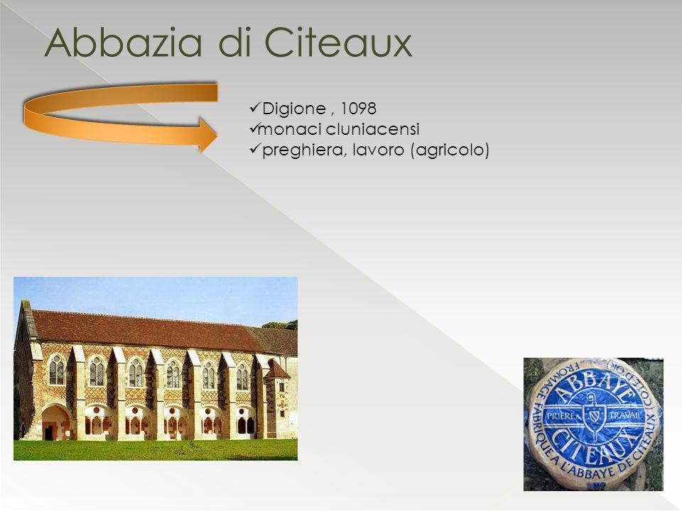 Abbazia di Citeaux Digione, 1098 monaci cluniacensi preghiera, lavoro (agricolo)