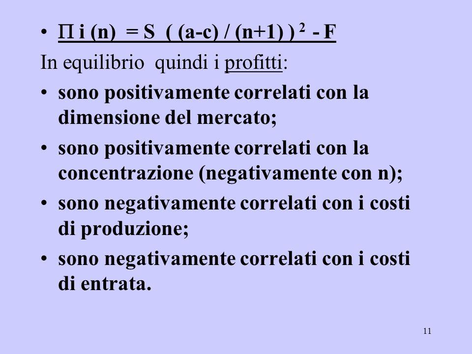 11 i (n) = S ( (a-c) / (n+1) ) 2 - F In equilibrio quindi i profitti: sono positivamente correlati con la dimensione del mercato; sono positivamente correlati con la concentrazione (negativamente con n); sono negativamente correlati con i costi di produzione; sono negativamente correlati con i costi di entrata.