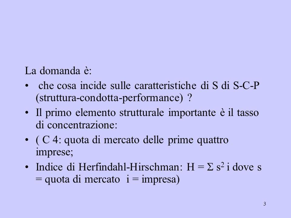 3 La domanda è: che cosa incide sulle caratteristiche di S di S-C-P (struttura-condotta-performance) ? Il primo elemento strutturale importante è il t