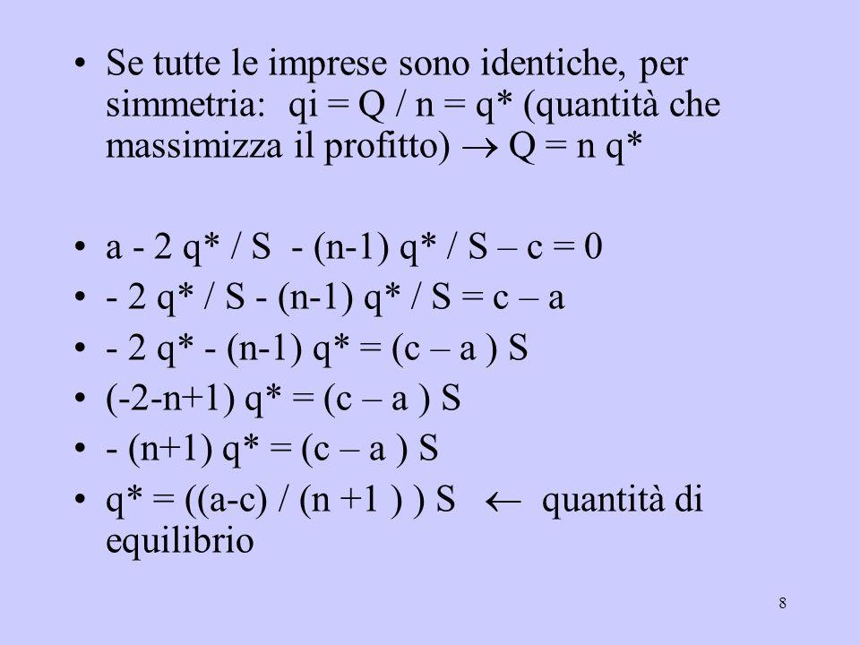 8 Se tutte le imprese sono identiche, per simmetria: qi = Q / n = q* (quantità che massimizza il profitto) Q = n q* a - 2 q* / S - (n-1) q* / S – c = 0 - 2 q* / S - (n-1) q* / S = c – a - 2 q* - (n-1) q* = (c – a ) S (-2-n+1) q* = (c – a ) S - (n+1) q* = (c – a ) S q* = ((a-c) / (n +1 ) ) S quantità di equilibrio