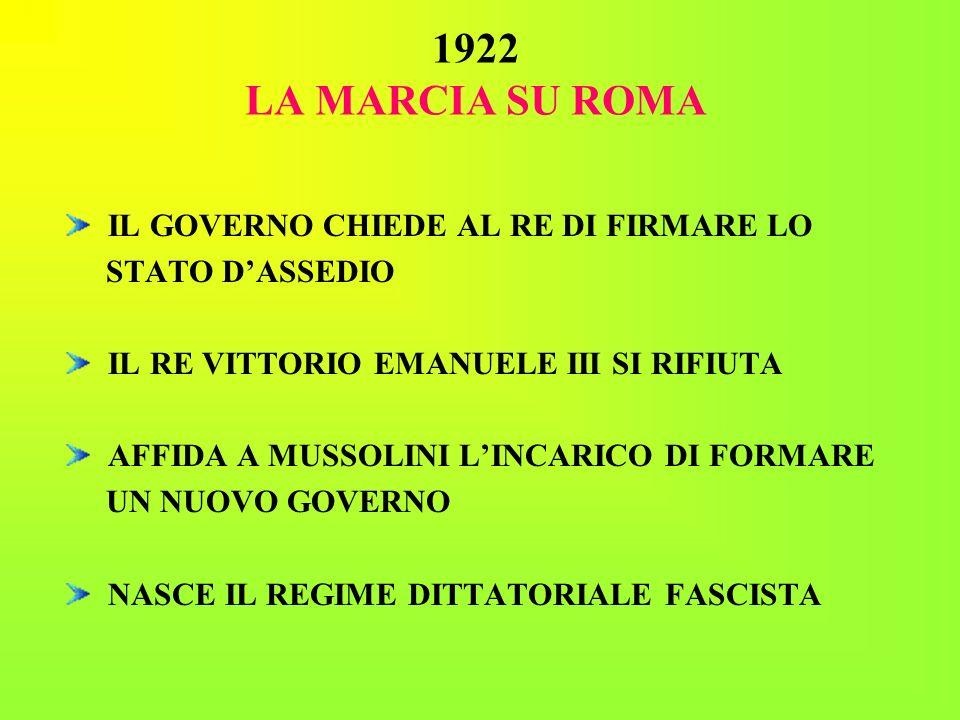 1922 LA MARCIA SU ROMA IL GOVERNO CHIEDE AL RE DI FIRMARE LO STATO DASSEDIO IL RE VITTORIO EMANUELE III SI RIFIUTA AFFIDA A MUSSOLINI LINCARICO DI FOR