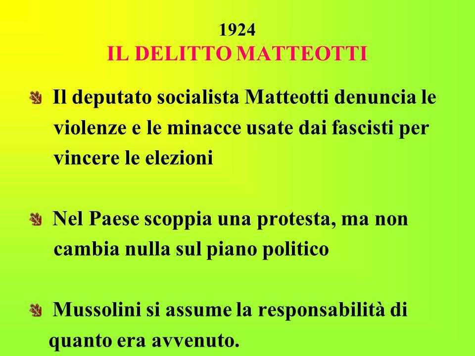 1924 IL DELITTO MATTEOTTI Il deputato socialista Matteotti denuncia le violenze e le minacce usate dai fascisti per vincere le elezioni Nel Paese scop