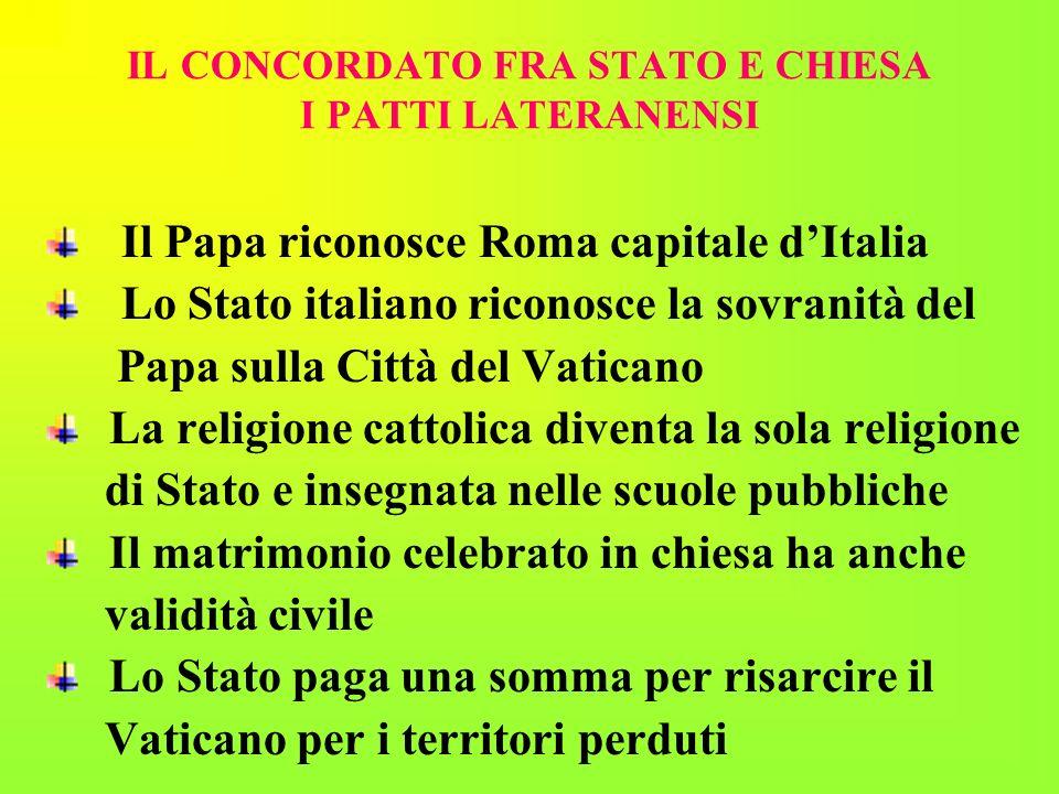 IL CONCORDATO FRA STATO E CHIESA I PATTI LATERANENSI Il Papa riconosce Roma capitale dItalia Lo Stato italiano riconosce la sovranità del Papa sulla C