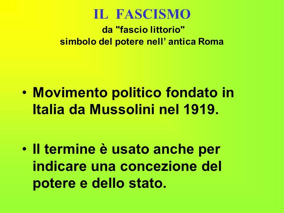 I principi del fascismo monopolio della rappresentanza da parte di un unico partito; culto del capo; disprezzo per i valori della democrazia le libertà civili di pensiero di stampa di associazione.