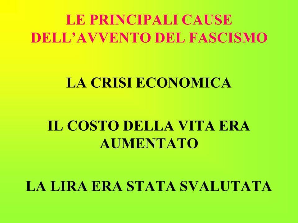 LE PRINCIPALI CAUSE DELLAVVENTO DEL FASCISMO LA CRISI ECONOMICA IL COSTO DELLA VITA ERA AUMENTATO LA LIRA ERA STATA SVALUTATA
