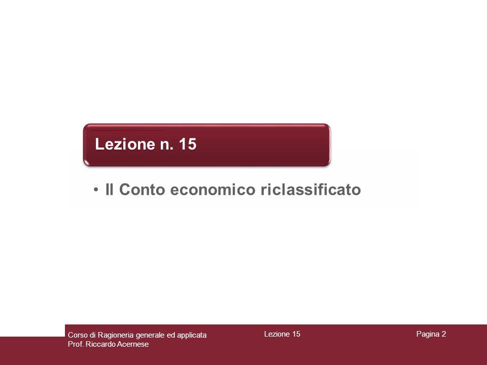 Lezione 15 Corso di Ragioneria generale ed applicata Prof. Riccardo Acernese Pagina 2 Il Conto economico riclassificato Lezione n. 15