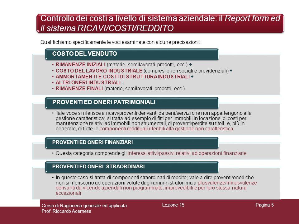 Controllo dei costi a livello di sistema aziendale: il Report form ed il sistema RICAVI/COSTI/REDDITO Pagina 5 Qualifichiamo specificamente le voci es