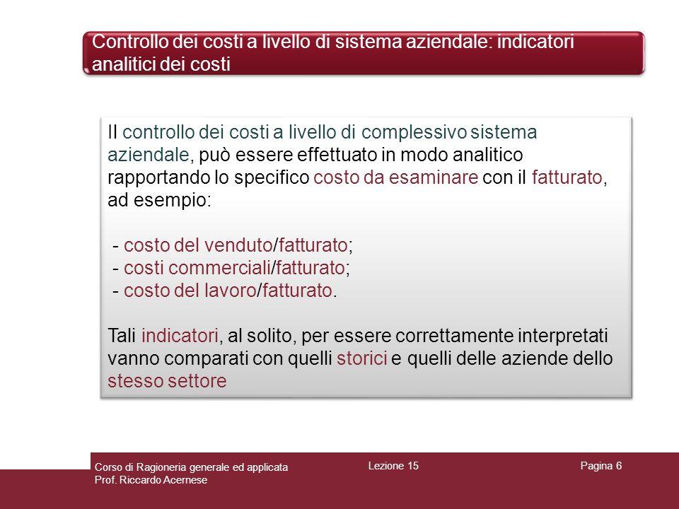 Controllo dei costi a livello di sistema aziendale: indicatori analitici dei costi Pagina 6 Il controllo dei costi a livello di complessivo sistema az