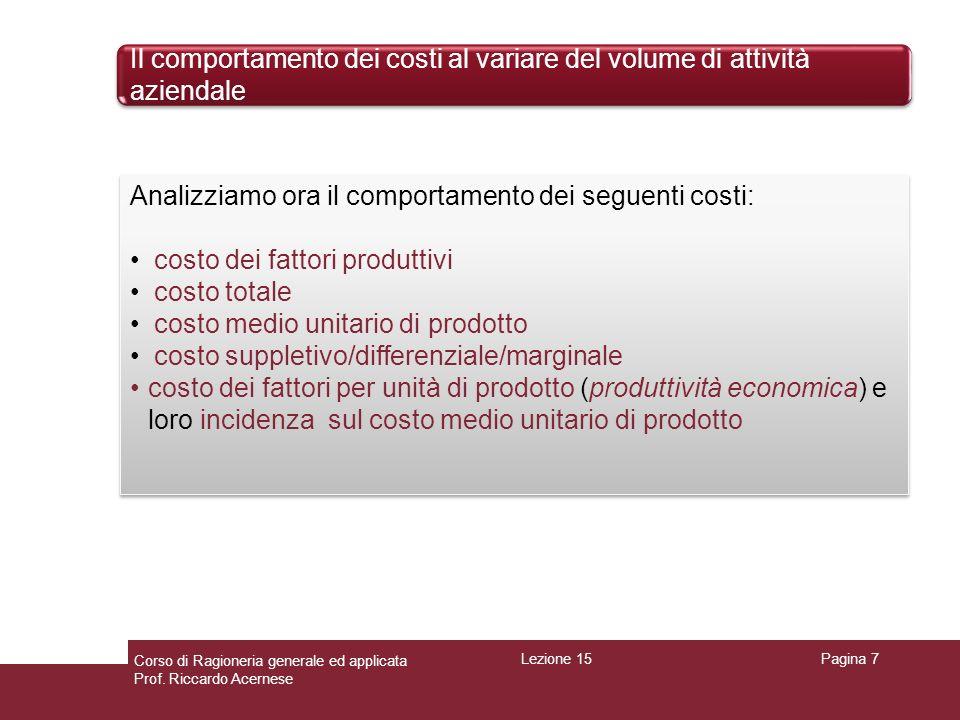 Il comportamento dei costi al variare del volume di attività aziendale Pagina 7 Analizziamo ora il comportamento dei seguenti costi: costo dei fattori