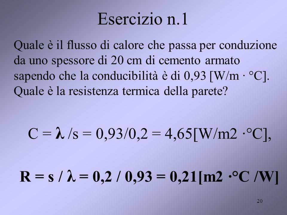 20 Esercizio n.1 Quale è il flusso di calore che passa per conduzione da uno spessore di 20 cm di cemento armato sapendo che la conducibilità è di 0,9