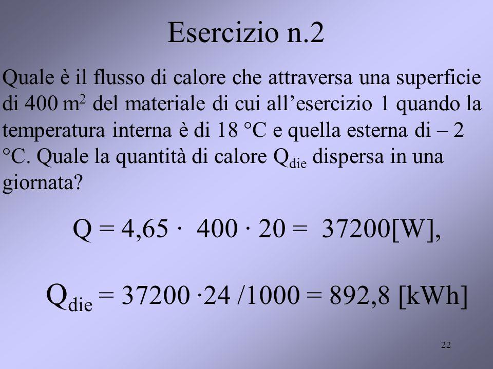 22 Esercizio n.2 Quale è il flusso di calore che attraversa una superficie di 400 m 2 del materiale di cui allesercizio 1 quando la temperatura intern