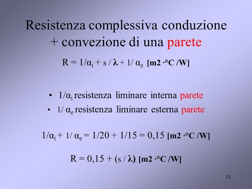 28 Resistenza complessiva conduzione + convezione di una parete R = 1/α i + s / λ + 1/ α e [m2 ·°C /W] 1/α i resistenza liminare interna parete 1/ α e