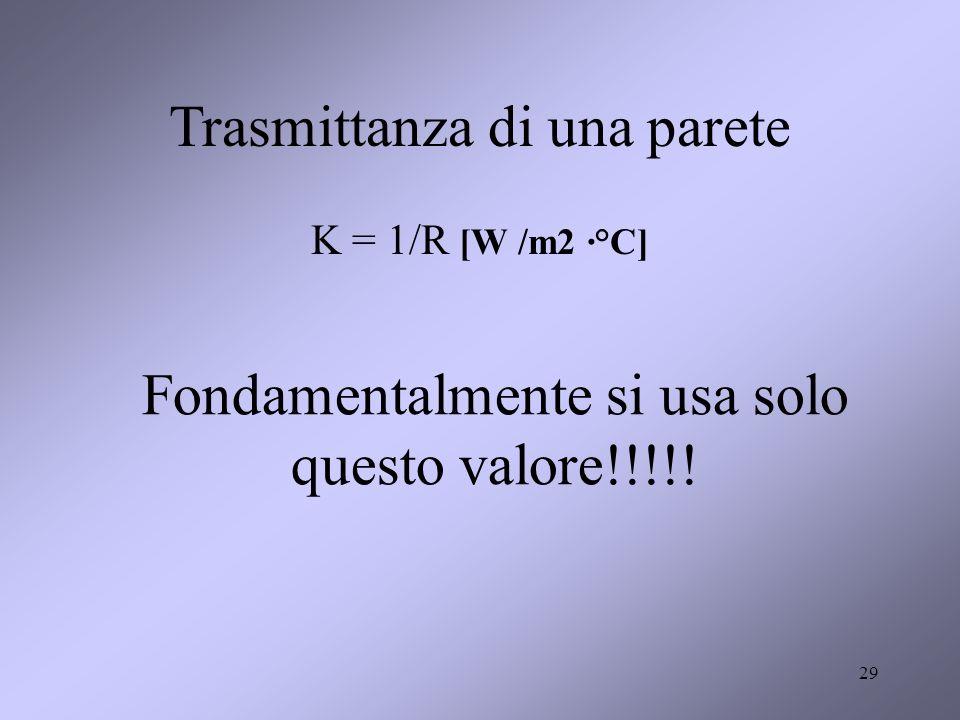 29 Trasmittanza di una parete K = 1/R [W /m2 ·°C] Fondamentalmente si usa solo questo valore!!!!!