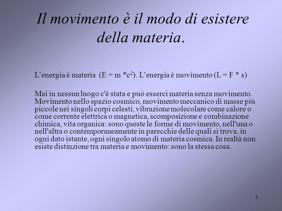 3 Il movimento è il modo di esistere della materia. Lenergia è materia (E = m *c 2 ). Lenergia è movimento (L = F * s) Mai in nessun luogo c'è stata e