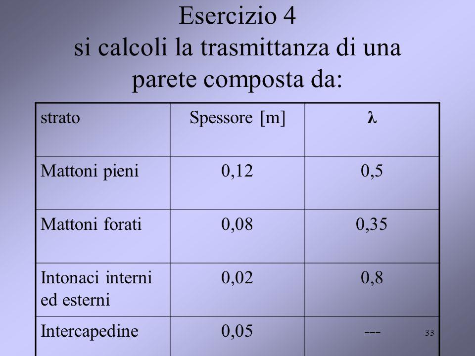 33 Esercizio 4 si calcoli la trasmittanza di una parete composta da: stratoSpessore [m]λ Mattoni pieni0,120,5 Mattoni forati0,080,35 Intonaci interni