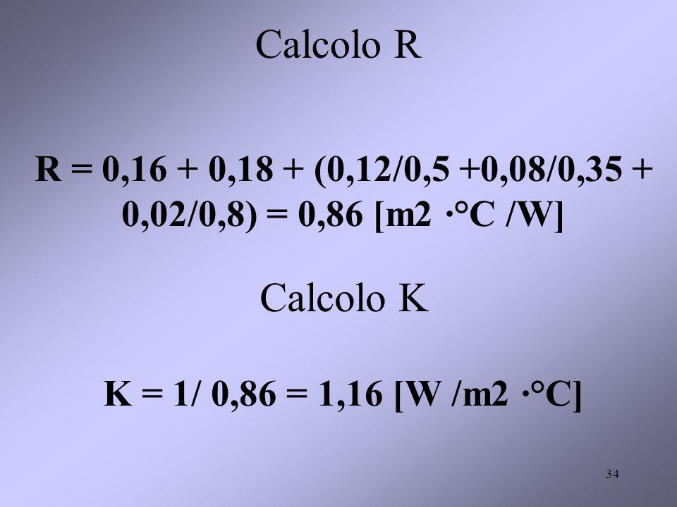 34 Calcolo R R = 0,16 + 0,18 + (0,12/0,5 +0,08/0,35 + 0,02/0,8) = 0,86 [m2 ·°C /W] Calcolo K K = 1/ 0,86 = 1,16 [W /m2 ·°C]