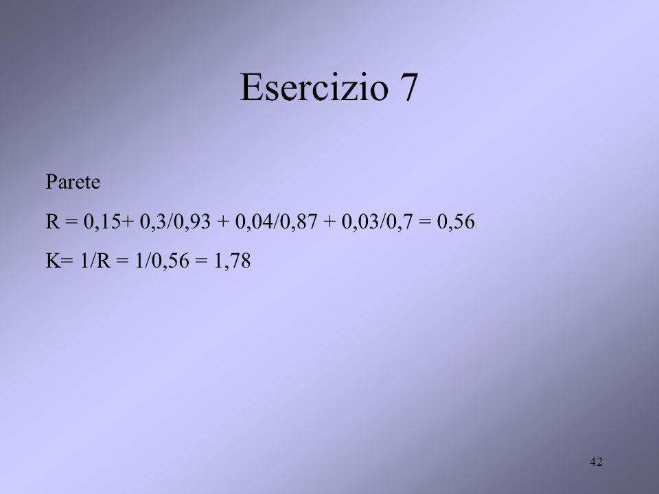 42 Esercizio 7 Parete R = 0,15+ 0,3/0,93 + 0,04/0,87 + 0,03/0,7 = 0,56 K= 1/R = 1/0,56 = 1,78