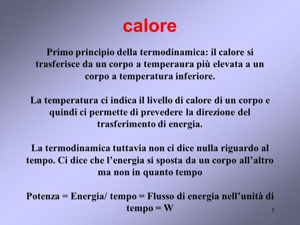 5 calore Primo principio della termodinamica: il calore si trasferisce da un corpo a temperaura più elevata a un corpo a temperatura inferiore. La tem