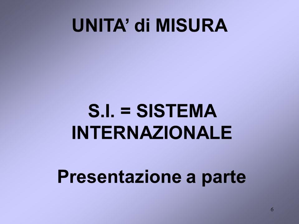 6 UNITA di MISURA S.I. = SISTEMA INTERNAZIONALE Presentazione a parte