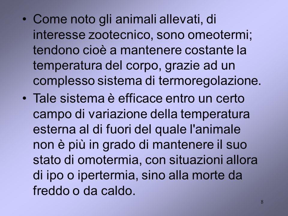 8 Come noto gli animali allevati, di interesse zootecnico, sono omeotermi; tendono cioè a mantenere costante la temperatura del corpo, grazie ad un co