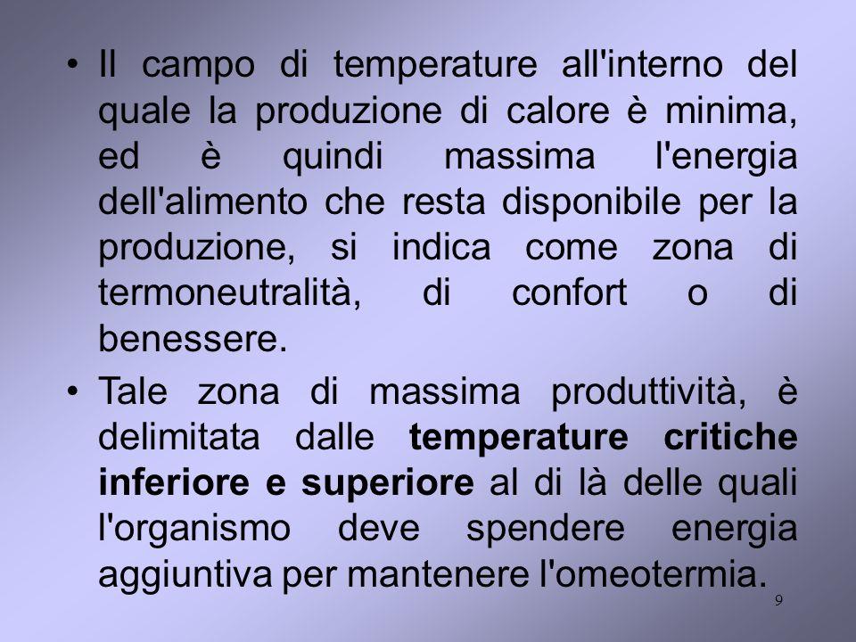 9 Il campo di temperature all'interno del quale la produzione di calore è minima, ed è quindi massima l'energia dell'alimento che resta disponibile pe
