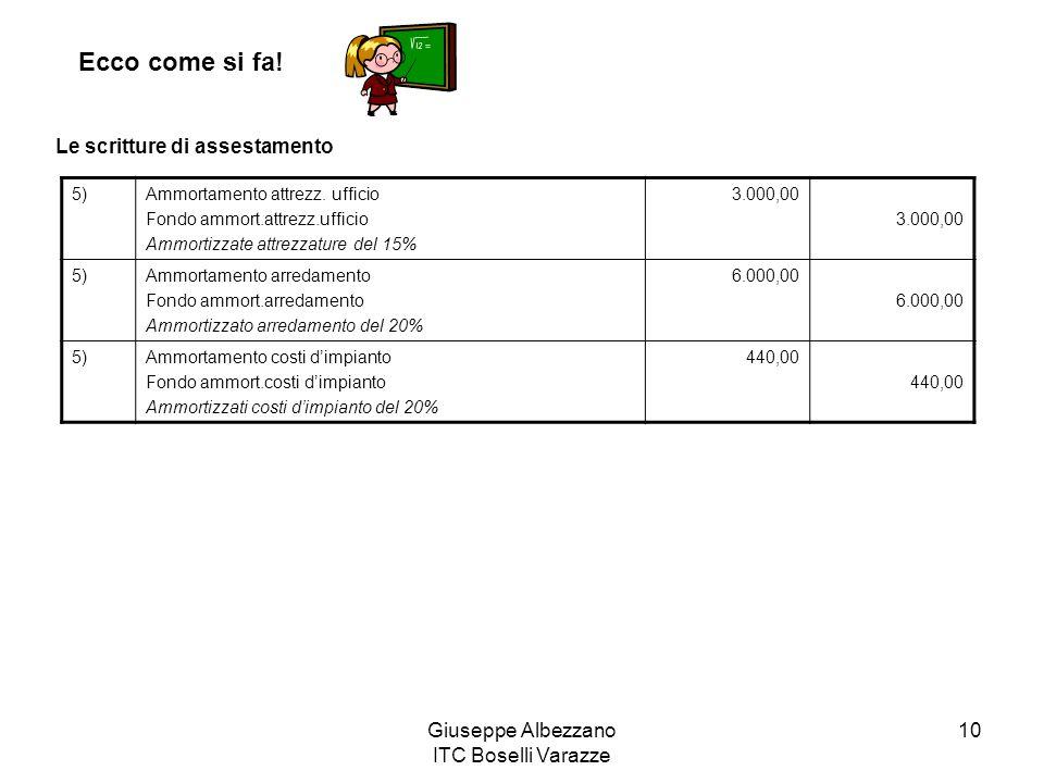 Giuseppe Albezzano ITC Boselli Varazze 10 Ecco come si fa! Le scritture di assestamento 5)Ammortamento attrezz. ufficio Fondo ammort.attrezz.ufficio A