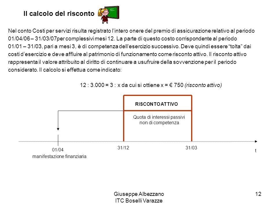 Giuseppe Albezzano ITC Boselli Varazze 12 Nel conto Costi per servizi risulta registrato lintero onere del premio di assicurazione relativo al periodo