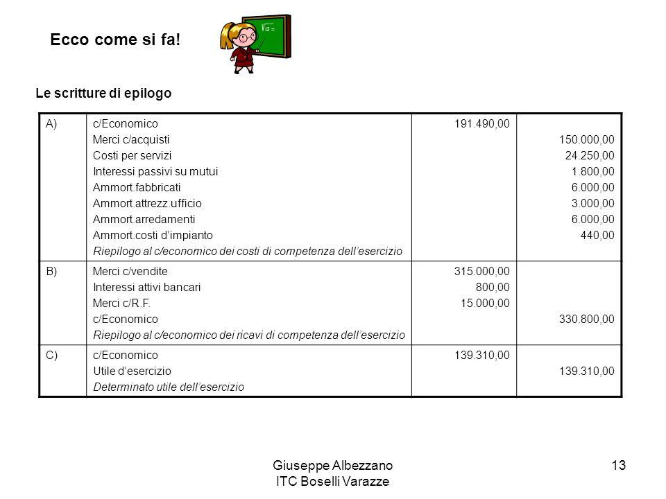 Giuseppe Albezzano ITC Boselli Varazze 13 Ecco come si fa! Le scritture di epilogo A)c/Economico Merci c/acquisti Costi per servizi Interessi passivi
