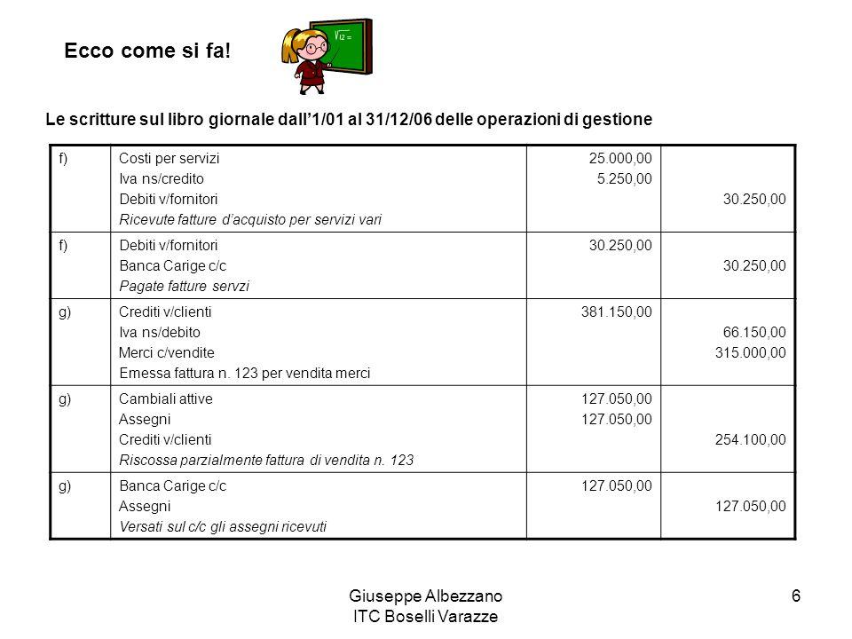 Giuseppe Albezzano ITC Boselli Varazze 6 Ecco come si fa! Le scritture sul libro giornale dall1/01 al 31/12/06 delle operazioni di gestione f)Costi pe