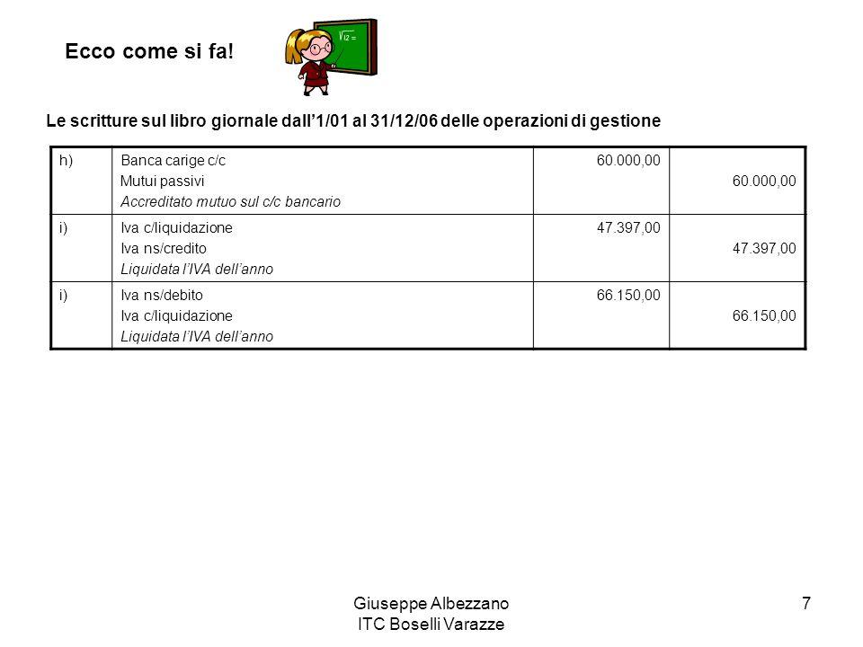 Giuseppe Albezzano ITC Boselli Varazze 7 Ecco come si fa! Le scritture sul libro giornale dall1/01 al 31/12/06 delle operazioni di gestione h)Banca ca
