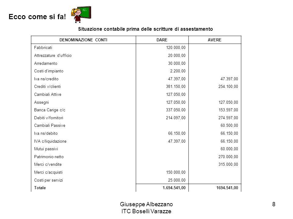 Giuseppe Albezzano ITC Boselli Varazze 8 Ecco come si fa! DENOMINAZIONE CONTIDAREAVERE Fabbricati120.000,00 Attrezzature d'ufficio20.000,00 Arredament