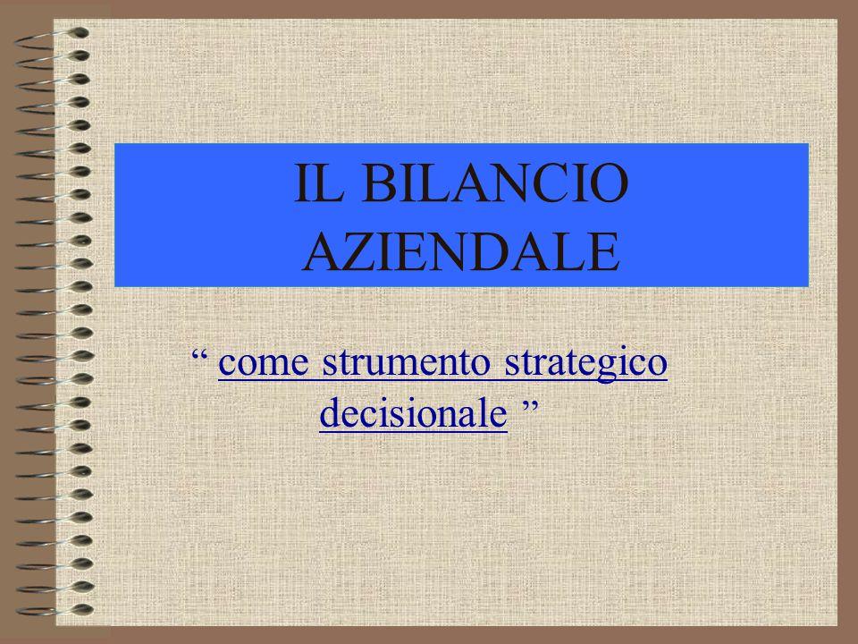 IL BILANCIO AZIENDALE come strumento strategico decisionale