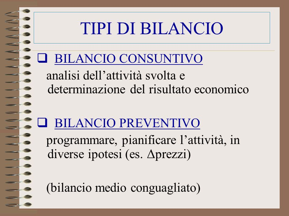 TIPI DI BILANCIO BILANCIO CONSUNTIVO analisi dellattività svolta e determinazione del risultato economico BILANCIO PREVENTIVO programmare, pianificare