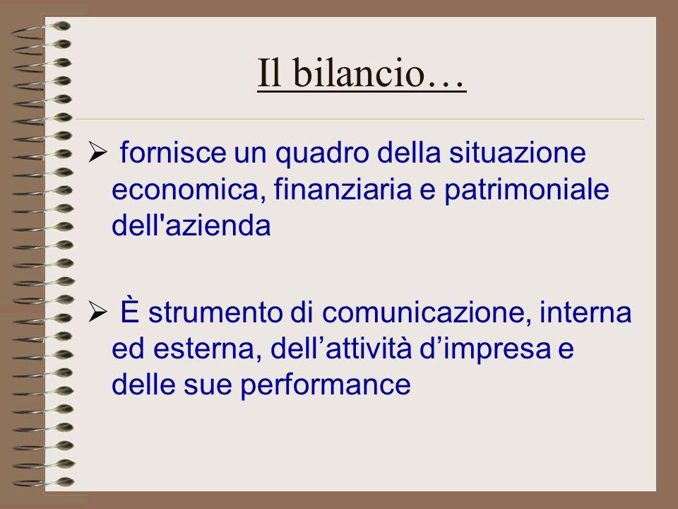 Il bilancio… fornisce un quadro della situazione economica, finanziaria e patrimoniale dell'azienda È strumento di comunicazione, interna ed esterna,