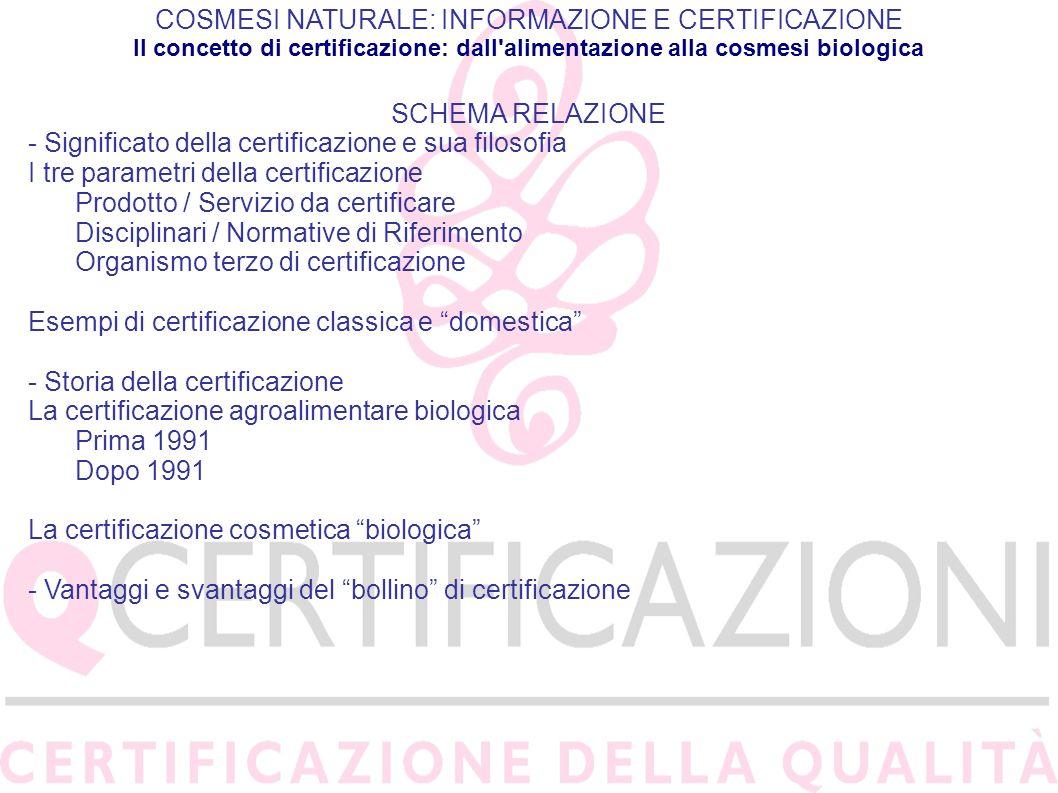 COSMESI NATURALE: INFORMAZIONE E CERTIFICAZIONE Il concetto di certificazione: dall alimentazione alla cosmesi biologica DISCIPLINARI PRODOTTI COSMETICI Cosmos http://www.cosmos-standard.org/ NaTrue http://www.natrue-label.it/home.html Bioagricert SoCert AIAB