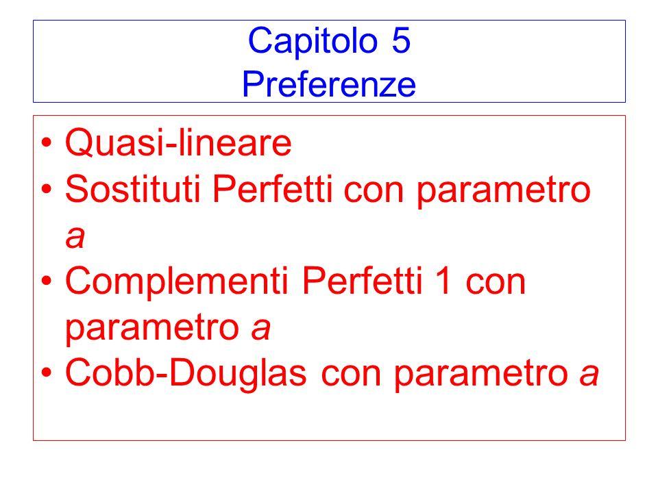 Capitolo 5 Preferenze Quasi-lineare Sostituti Perfetti con parametro a Complementi Perfetti 1 con parametro a Cobb-Douglas con parametro a