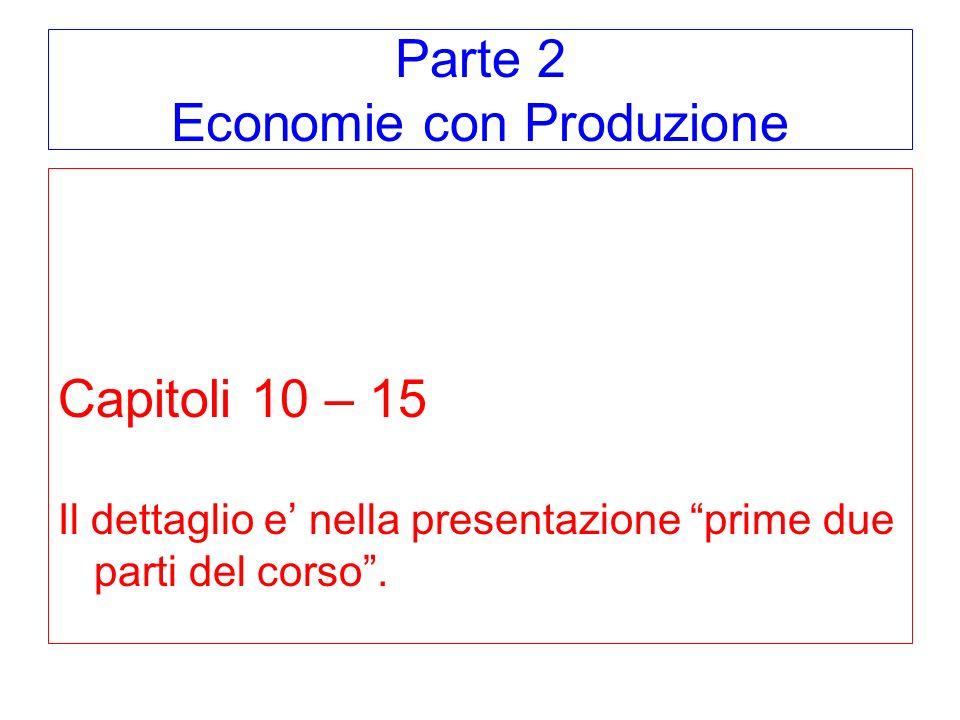 Parte 2 Economie con Produzione Capitoli 10 – 15 Il dettaglio e nella presentazione prime due parti del corso.
