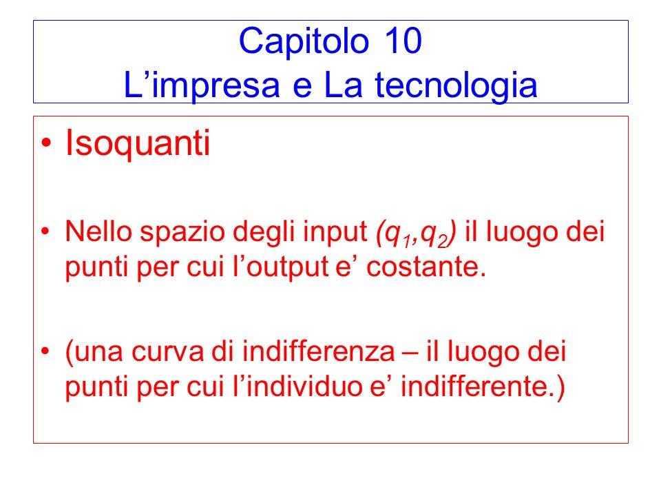 Capitolo 10 Limpresa e La tecnologia Isoquanti Nello spazio degli input (q 1,q 2 ) il luogo dei punti per cui loutput e costante. (una curva di indiff