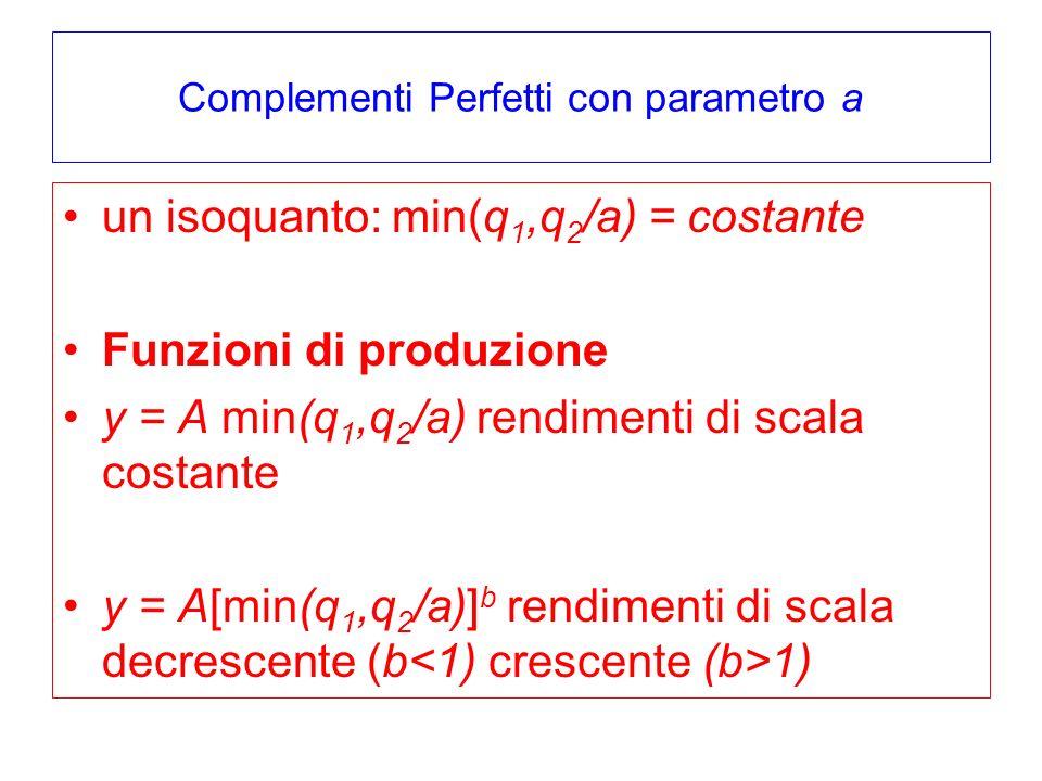 Complementi Perfetti con parametro a un isoquanto: min(q 1,q 2 /a) = costante Funzioni di produzione y = A min(q 1,q 2 /a) rendimenti di scala costant