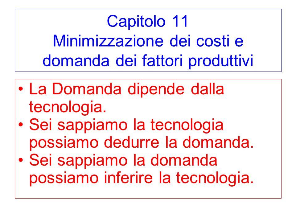 Capitolo 11 Minimizzazione dei costi e domanda dei fattori produttivi La Domanda dipende dalla tecnologia. Sei sappiamo la tecnologia possiamo dedurre