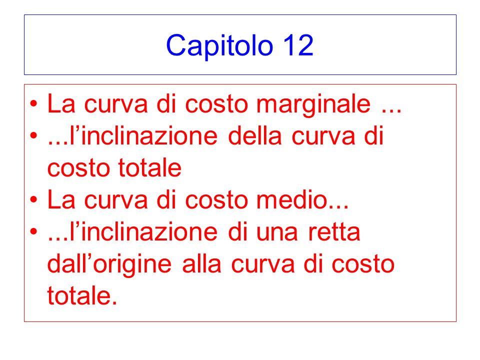 Capitolo 12 La curva di costo marginale......linclinazione della curva di costo totale La curva di costo medio......linclinazione di una retta dallori