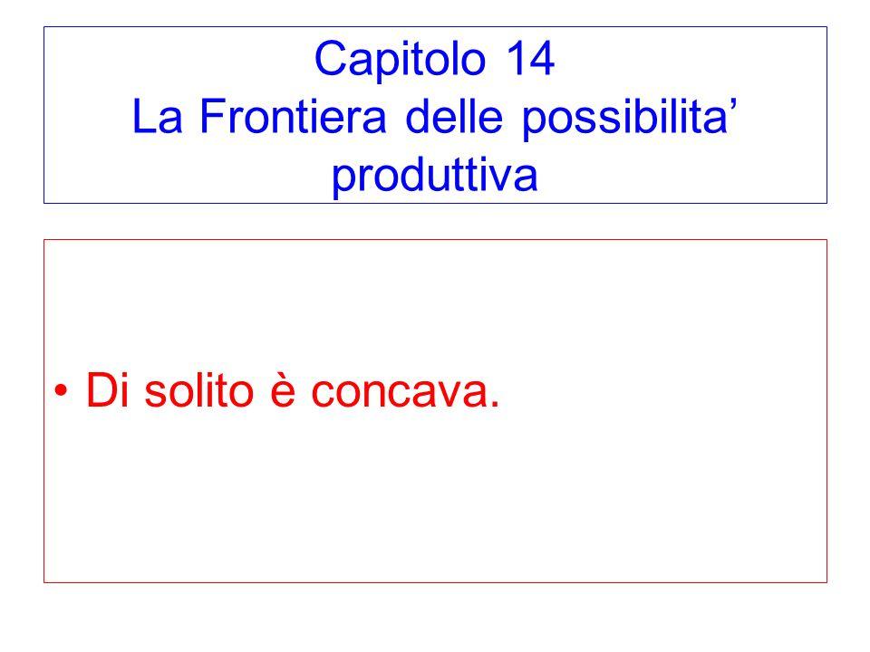 Capitolo 14 La Frontiera delle possibilita produttiva Di solito è concava.