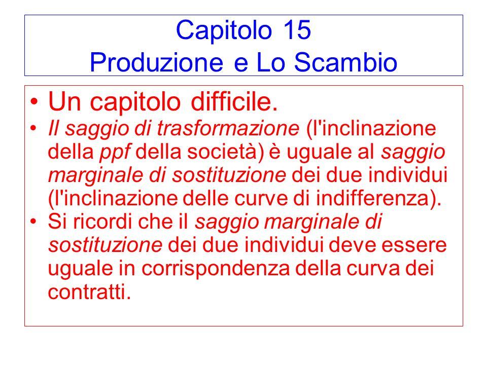 Capitolo 15 Produzione e Lo Scambio Un capitolo difficile. Il saggio di trasformazione (l'inclinazione della ppf della società) è uguale al saggio mar