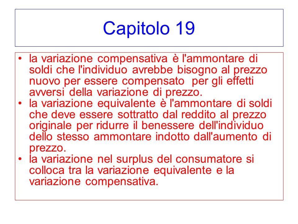 Capitolo 19 la variazione compensativa è l'ammontare di soldi che l'individuo avrebbe bisogno al prezzo nuovo per essere compensato per gli effetti av