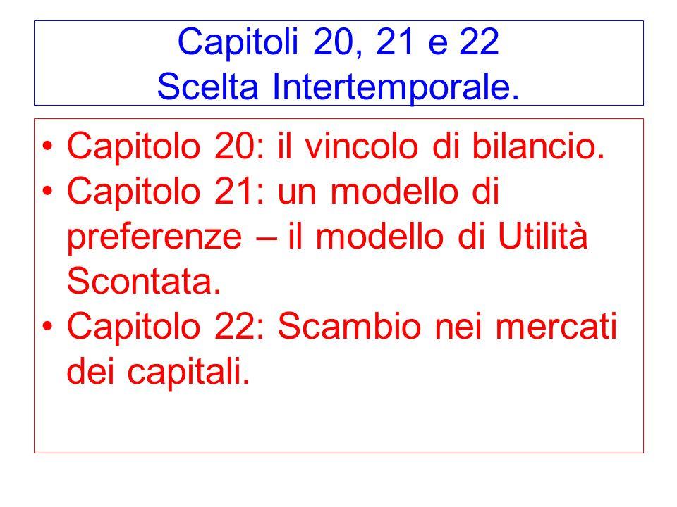 Capitoli 20, 21 e 22 Scelta Intertemporale. Capitolo 20: il vincolo di bilancio. Capitolo 21: un modello di preferenze – il modello di Utilità Scontat
