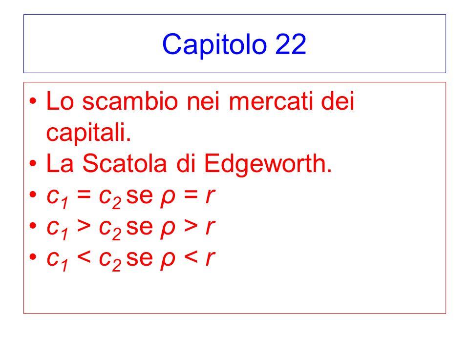 Capitolo 22 Lo scambio nei mercati dei capitali. La Scatola di Edgeworth. c 1 = c 2 se ρ = r c 1 > c 2 se ρ > r c 1 < c 2 se ρ < r