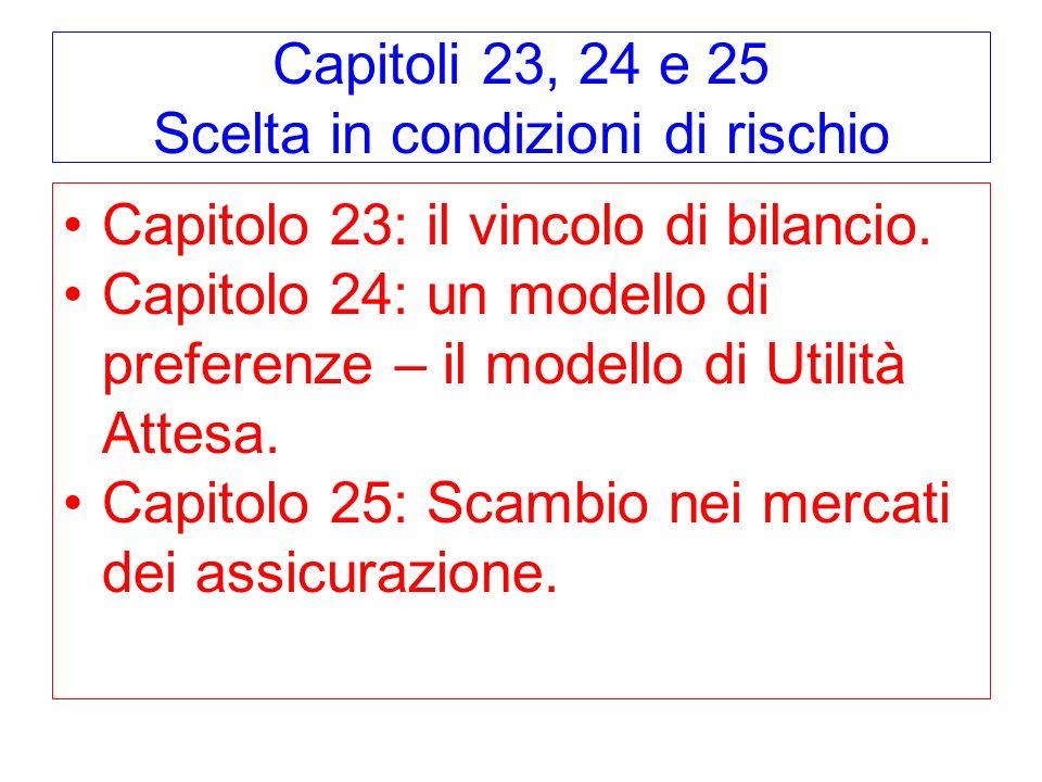 Capitoli 23, 24 e 25 Scelta in condizioni di rischio Capitolo 23: il vincolo di bilancio. Capitolo 24: un modello di preferenze – il modello di Utilit