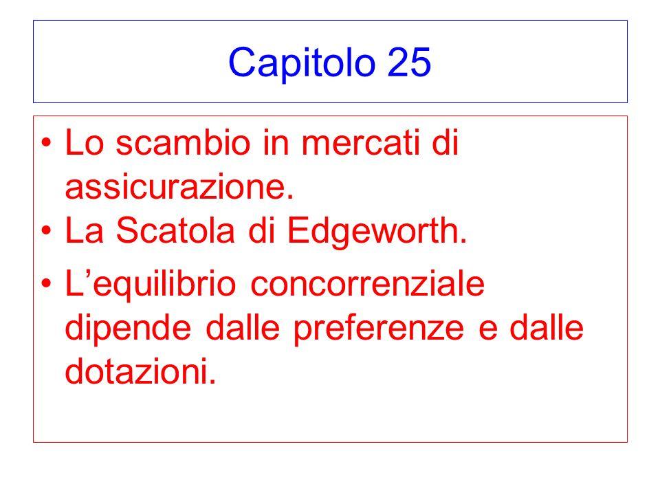Capitolo 25 Lo scambio in mercati di assicurazione. La Scatola di Edgeworth. Lequilibrio concorrenziale dipende dalle preferenze e dalle dotazioni.