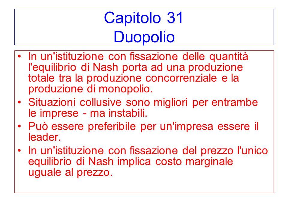 Capitolo 31 Duopolio In un'istituzione con fissazione delle quantità l'equilibrio di Nash porta ad una produzione totale tra la produzione concorrenzi